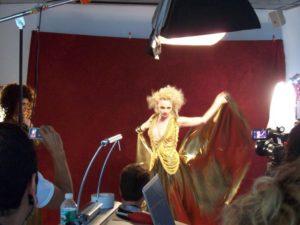 fashion blond female model photoshoot